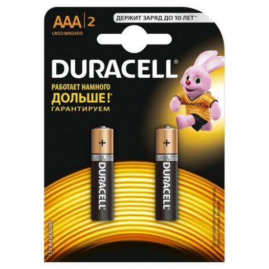 Батарейки DURACELL LR03 (AAA) 2 шт в блистере