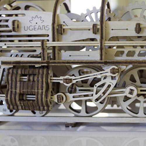Деревянный 3D конструктор UGEARS Локомотив с тендером-1