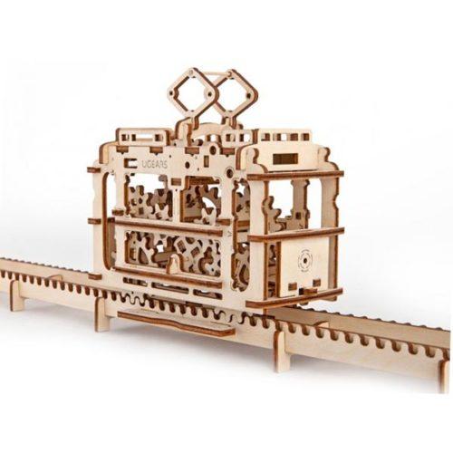 Деревянный 3D конструктор UGEARS Трамвай с рельсами