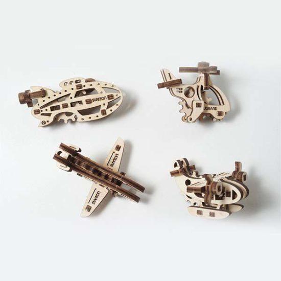 Деревянный 3D конструктор UGEARS Фиджет Самолеты