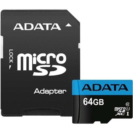 Карта памяти micro SDXC 64Gb A-Data Premier UHS-I U1 + ADP (85/25 Mb/s)