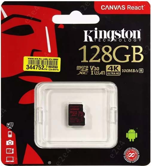 Карта памяти micro SDXC 128Gb Kingston Canvas React UHS-I Class U3 V30 A1 (100/80 Mb/s)