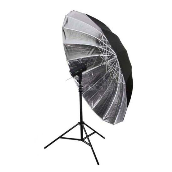 Зонт Hylow параболический 16 спиц 180 см серебро на отражение