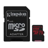 Карта памяти micro SDXC 64Gb Kingston Canvas React UHS-I U3 V30 A1 (100/80 Mb/s)+адаптер